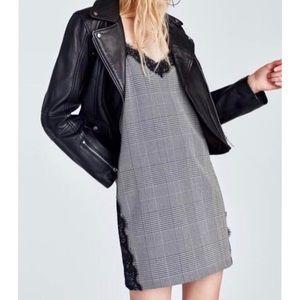 ZARA • Plaid Lace-Trimmed Mini Slip Dress